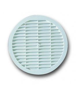 Rejilla para ventilación de plástico blanco redonda diámetro 15 cm.