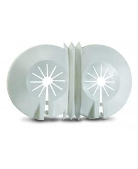 Florón abierto doble en plástico blanco de 10 a 22 mm.