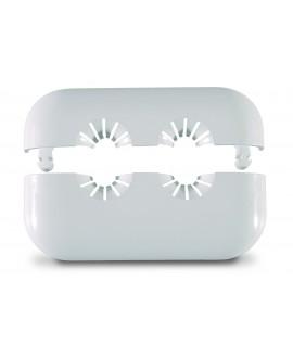 Florón de dos piezas doble en plástico blanco de 10 a 22 mm.
