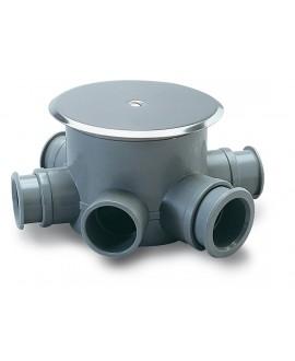 Bote sifónico en pvc con 4 entradas de 40 mm. Y salida de 50 mm. Con tapa de acero inoxidable de 110 mm.