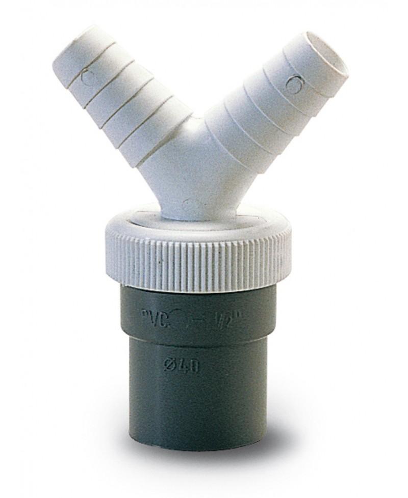 Enlace doble para gomas de salida de lavadora / lavavajillas a pvc de 40 mm. - 1