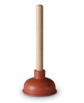 Desatascador de goma con mango de madera y campana de 115 mm.