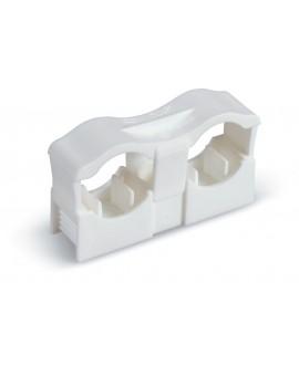 Clip doble de poliamida con rosca m-6 para tubos desde 12 hasta 22 mm.