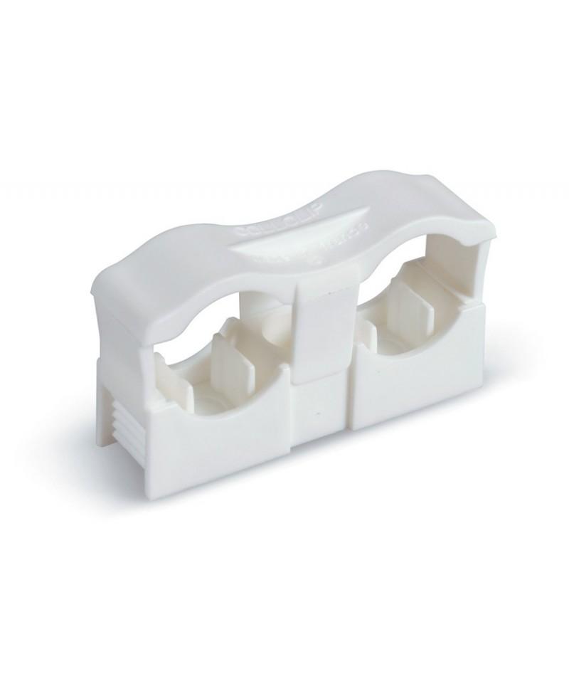 Clip doble de poliamida con rosca m-6 para tubos desde 12 hasta 22 mm. - 1