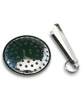 Rejilla filtro para desagüe con anilla en acero inoxidable de 60 mm.