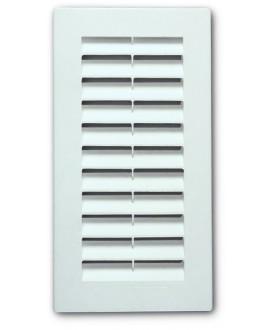 Rejilla para ventilación de plástico blanco tipo sun con mosquitero de 9x21 cm.