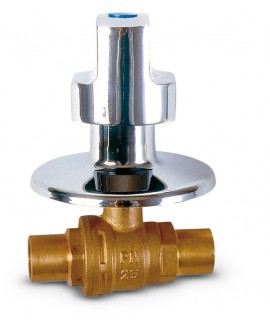 Válvula de esfera cromada para empotrar con maneta - 2
