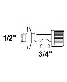 """Grifo para lavadora en latón cromado de 1/2"""" x 3/4"""" - 2"""