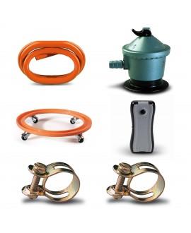 Pack regulador, tubo gas butano, indicador de carga, soporte bombona y abrazaderas