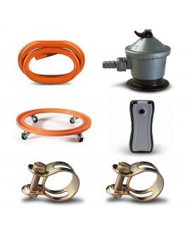 Pack regulador con válvula de seguridad, tubo gas butano, indicador de carga, soporte bombona y abrazaderas
