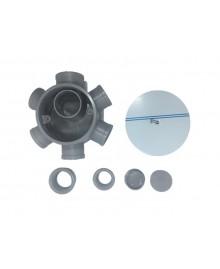 Bote sifónico en pvc con 4 entradas de 40 mm. Y salida de 50 mm. Con tapa de acero inoxidable de 110 mm. - 2