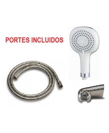 "Kit ducha ""NomNom"" con 3 posiciones + flexo extensible + soporte de pared - 5"