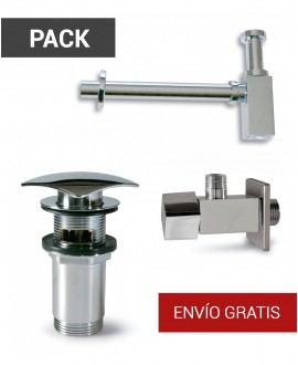 Pack sifón, llave de escuadra y válvula clic clac - 1