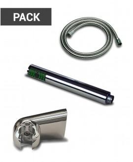 Pack tubo reforzado, teléfono de ducha y soporte universal