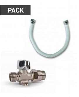 Pack llave de corte y latiguillo metálico