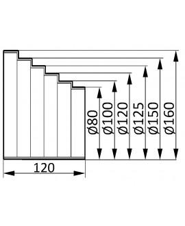 Reducción para tubos de salida de gases de 160 a 80 mm.